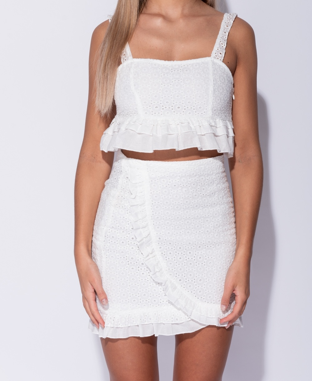 e033b2d6e3 Broderie Lace Frill Detail Crop Top & Frill Detail Mini Skirt Co Ord Set
