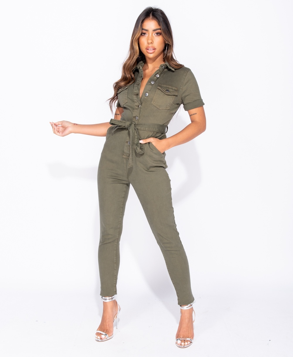 many choices of hot-selling official uk store Denim Button Up Tie Waist Short Sleeve Jumpsuit