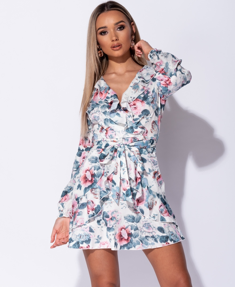 e3458f5660711 Floral Frill Detail Puff Sleeve Self Belt Mini Dress - Clothing from ...