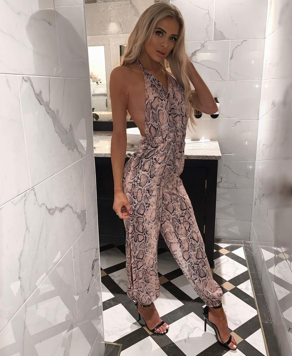 8c017e226624ee Snake Print Side Slit Wrap Front Halter Neck Jumpsuit - Clothing ...